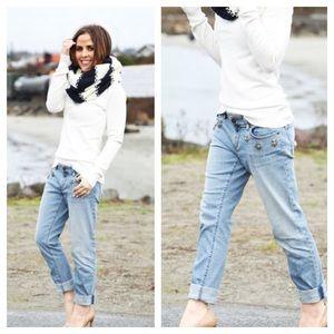 LOFT Jeweled Relaxed Skinny Boyfriend Jeans 6P